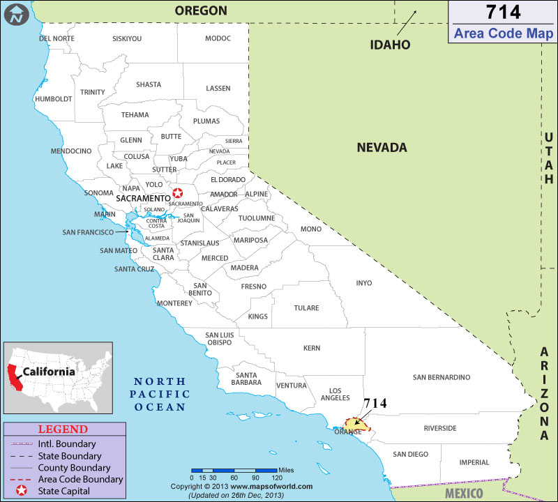 714 Area Codes Map