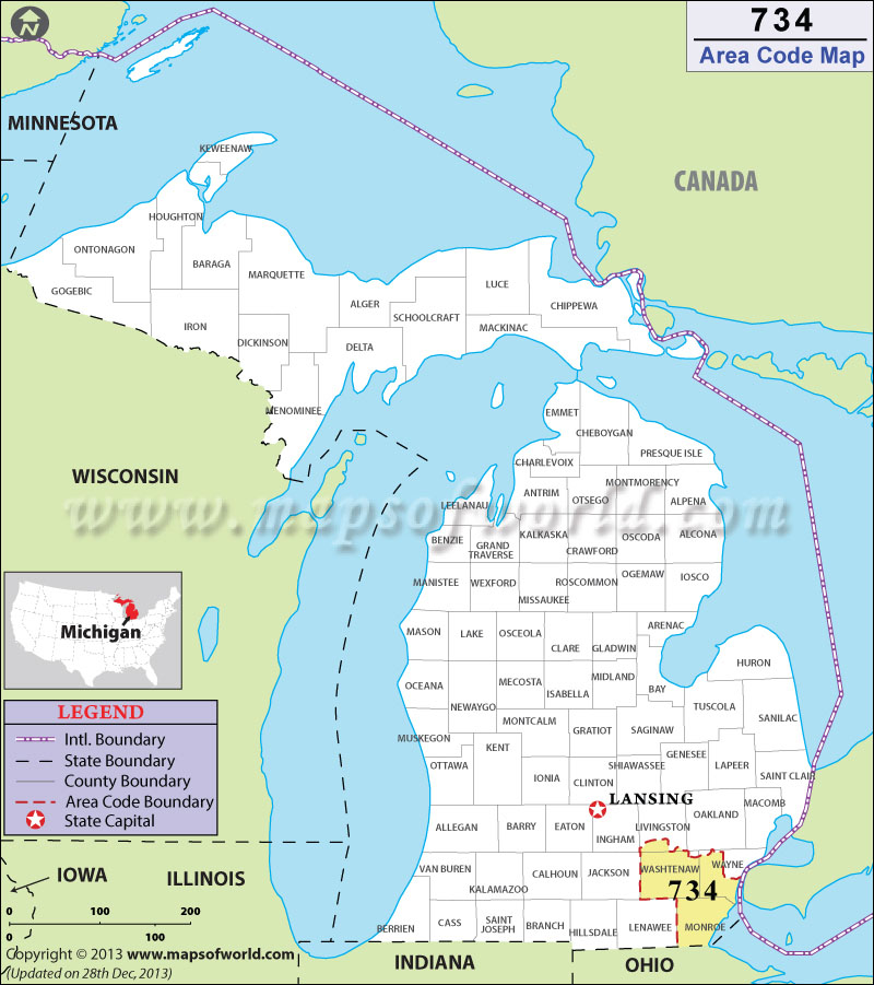 Area Code Map Where Is Area Code In Michigan - Area code 561 usa