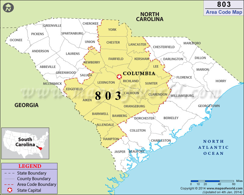 803 Area Codes Map