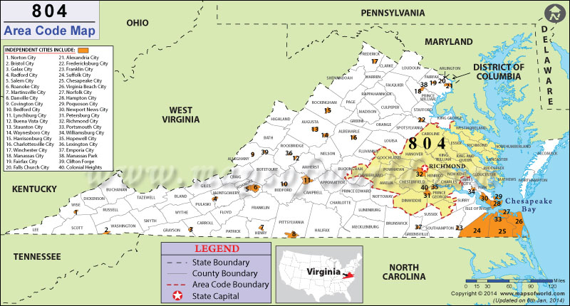 804 Area Codes Map