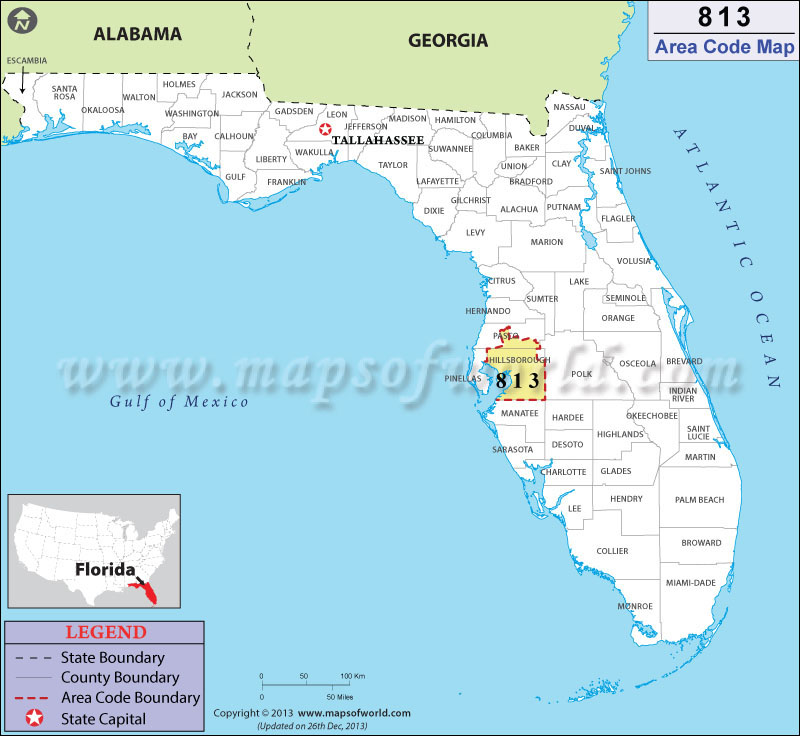 813 Area Code Map Where Is 813 Area Code In Florida