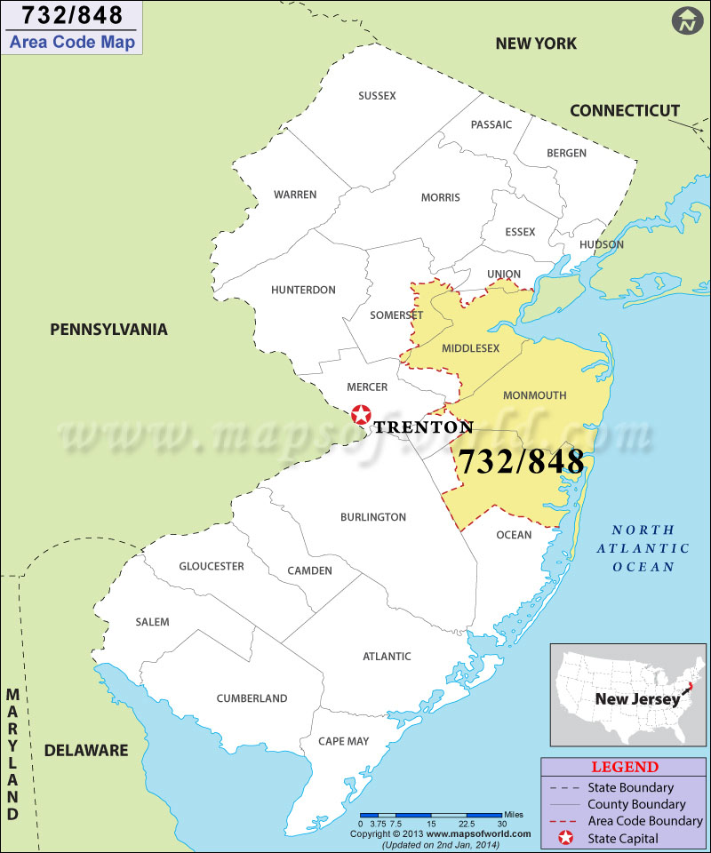 848 Area Codes Map