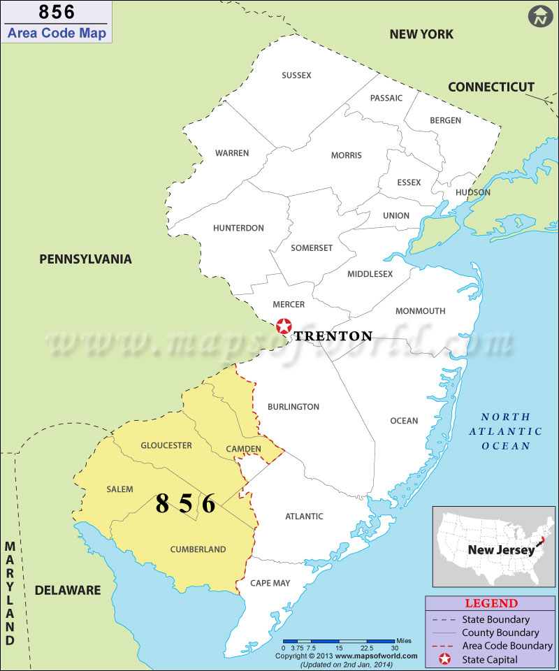 Area Code Map Where Is Area Code In New Jersey - 856 area code