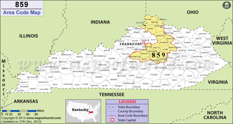 Area Code Map Where Is Area Code In Kentucky - 859 area code