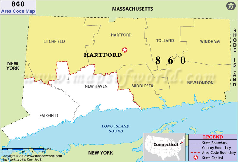 860 Area Code Map, Where is 860 Area Code in Connecticut