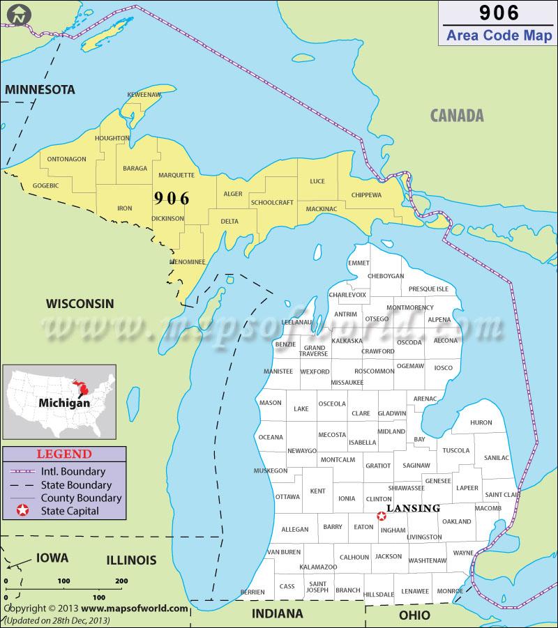 906 Area Codes Map