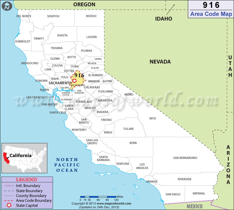 916 Area Codes Map