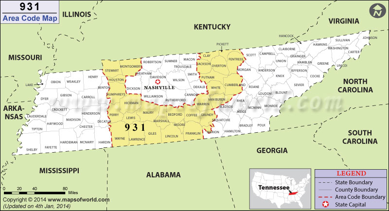 Area Code Map Where Is Area Code In Tennessee - Tennessee area codes