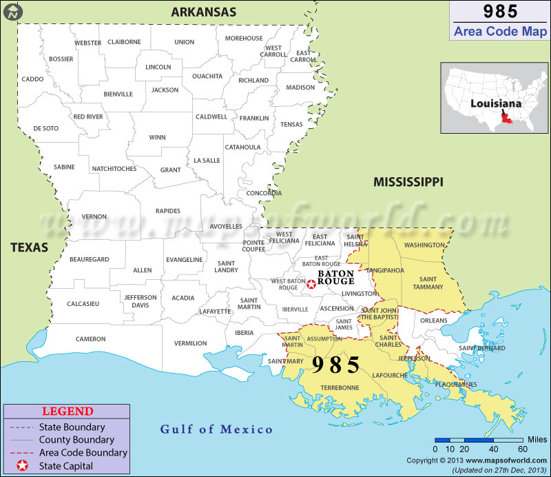 985 Area Codes Map