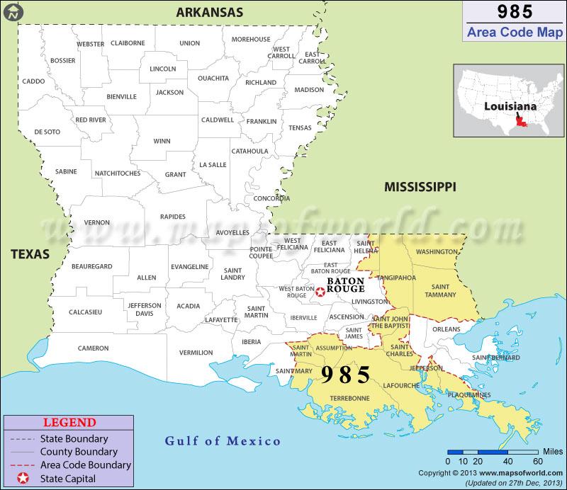 Area Code Map Where Is Area Code In Louisiana - Area code 985
