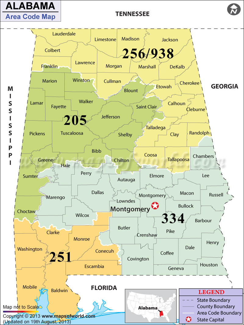 Alabama Area Codes