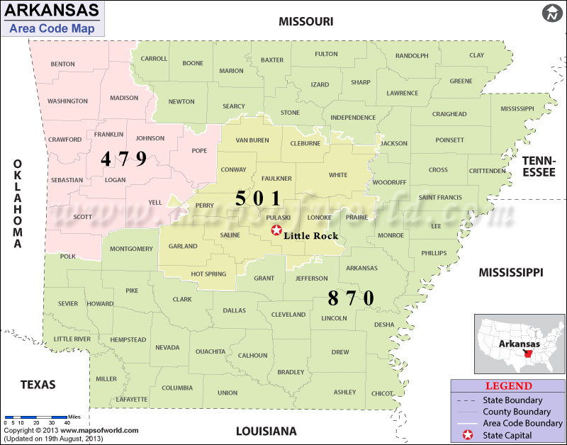 Arkansas Area Codes
