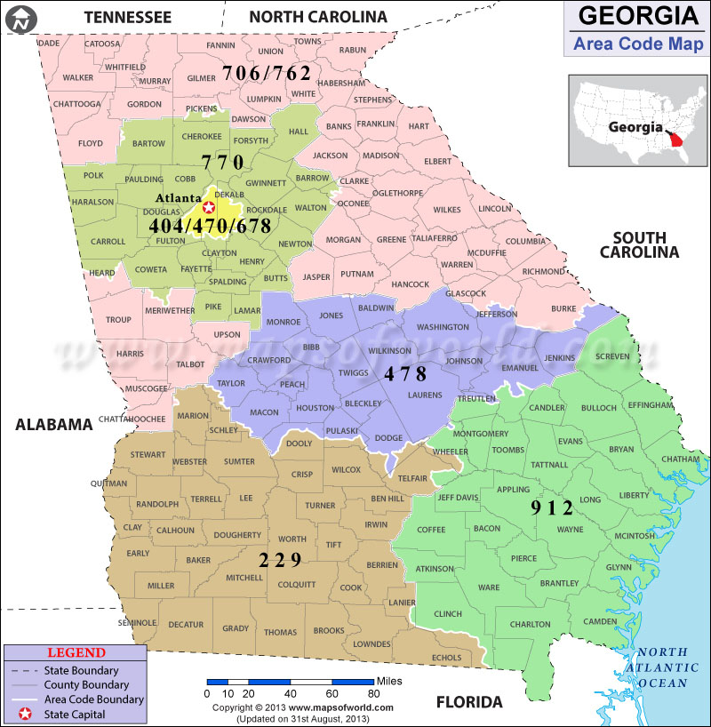 Georgia Area Codes | Map of Georgia Area Codes