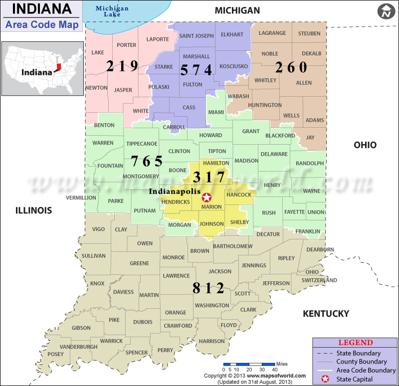 Indiana Area Codes