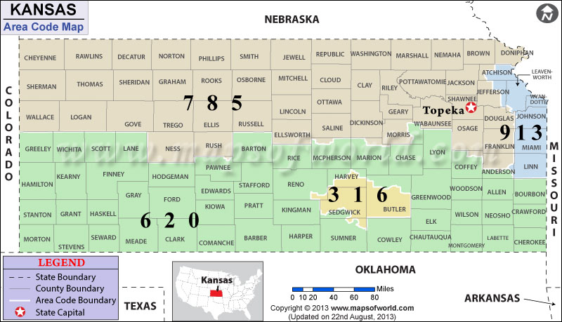 Kansas Area Codes | Map of Kansas Area Codes on