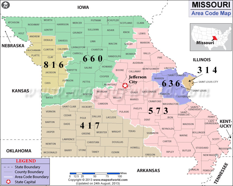 Missouri Area Codes Map Of Missouri Area Codes - Us map missouri