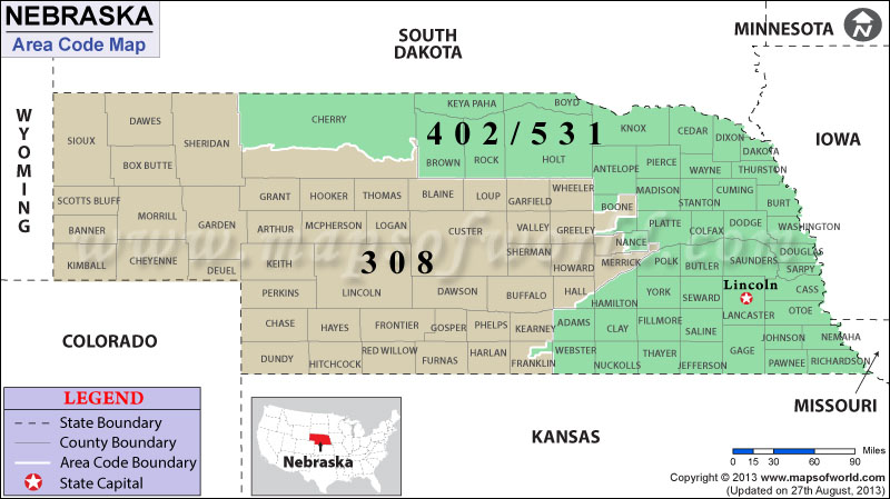 Nebraska Area Codes