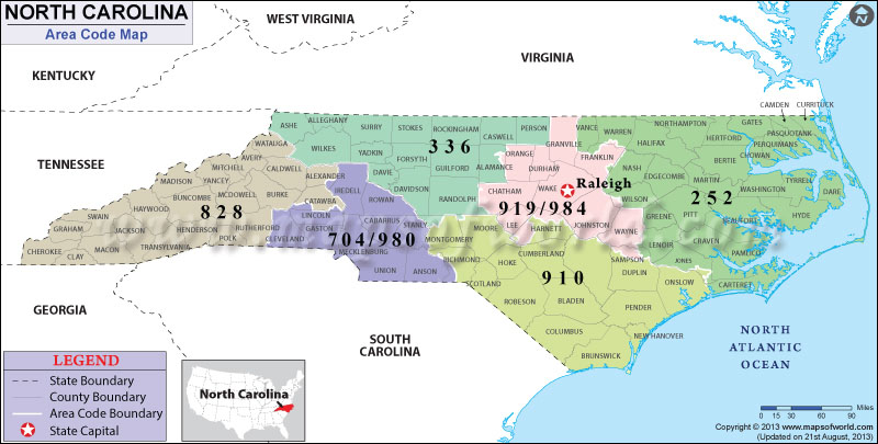North Carolina Area Codes