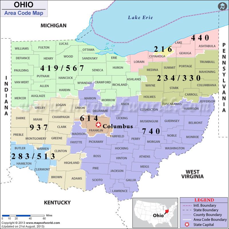 Ohio Area Codes