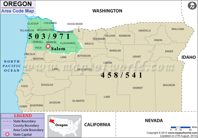 Oregon Area Codes