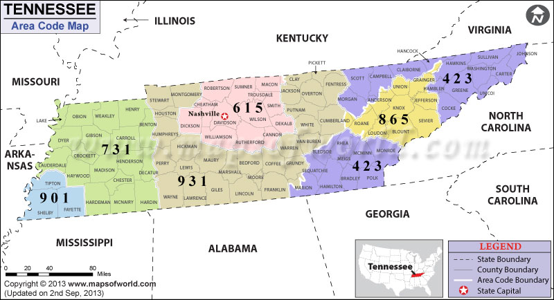 Tennessee Area Codes