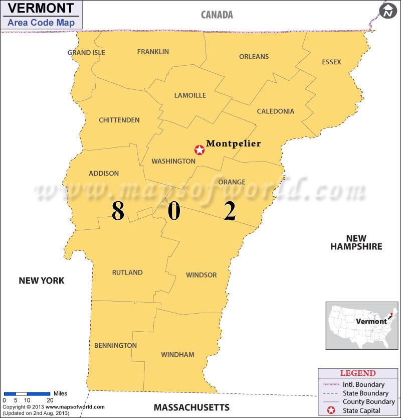 Vermont Area Codes