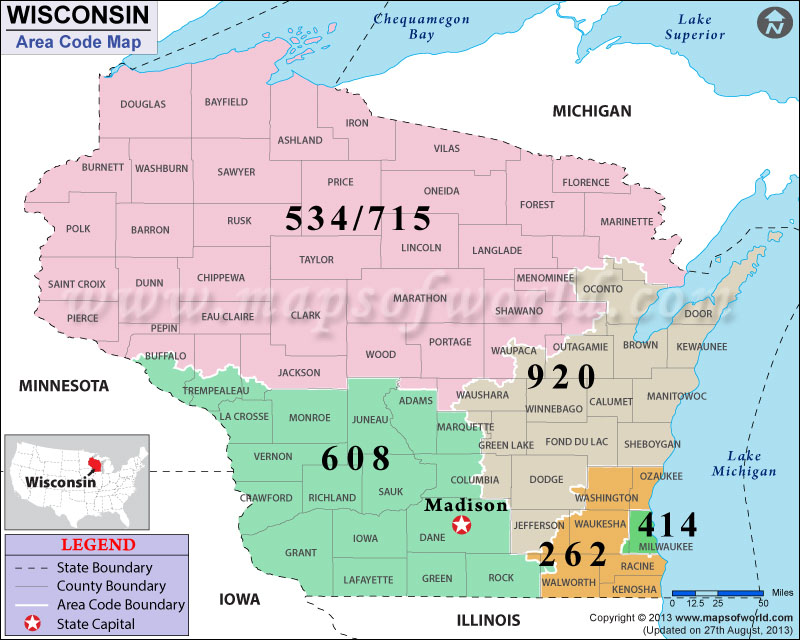 Wisconsin Area Codes