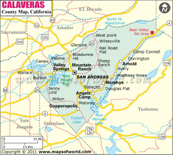 Calaveras County Map
