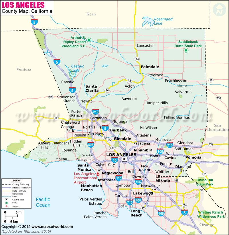 Los Angeles County Map Map Of Los Angeles County California Map Of Beaches In Us