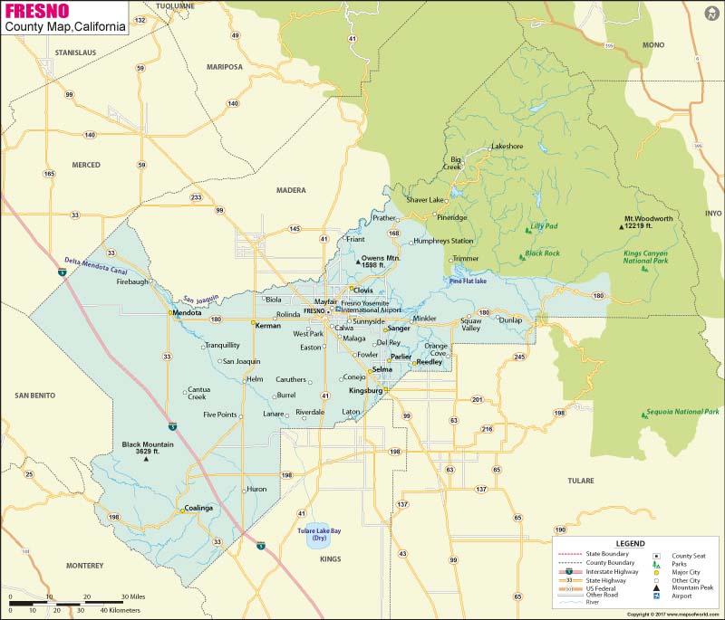 Fresno County Map Map of Fresno County California