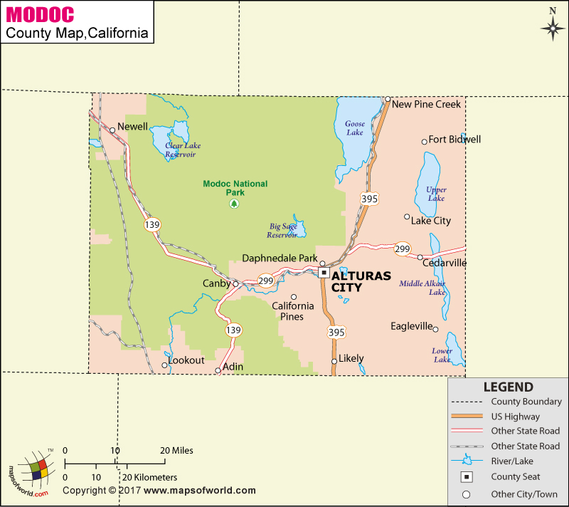 Modoc County Map
