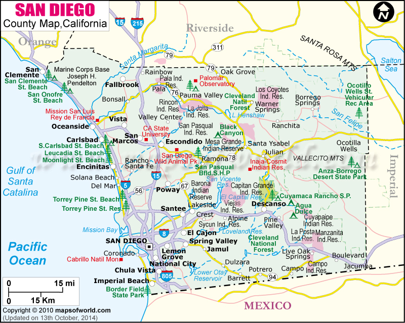 San Diego County Map Map Of San Diego County California