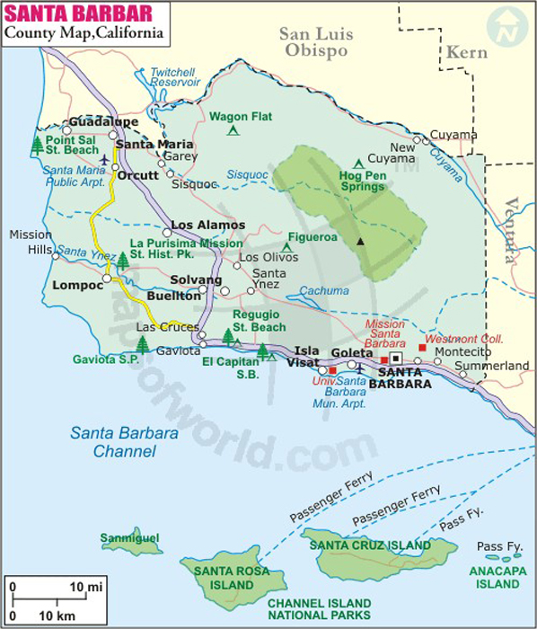 Santa Barbara County Map Map Of Santa Barbara County California - Santa barbara on us map