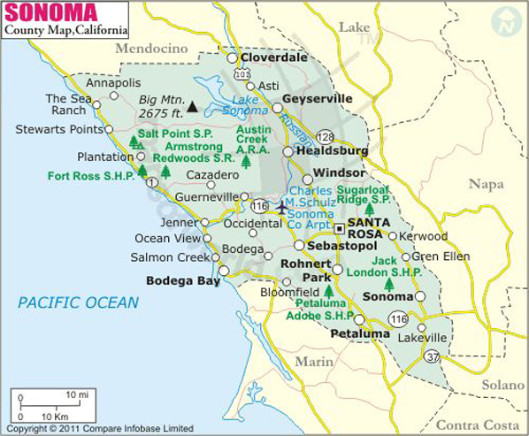 Sonoma County Map, Map of Sonoma County, California