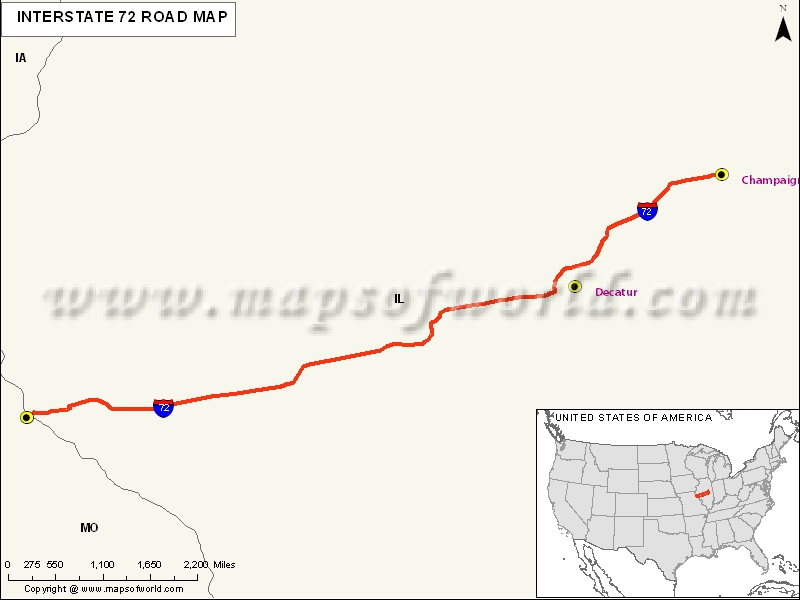 US Interstate 72 Map