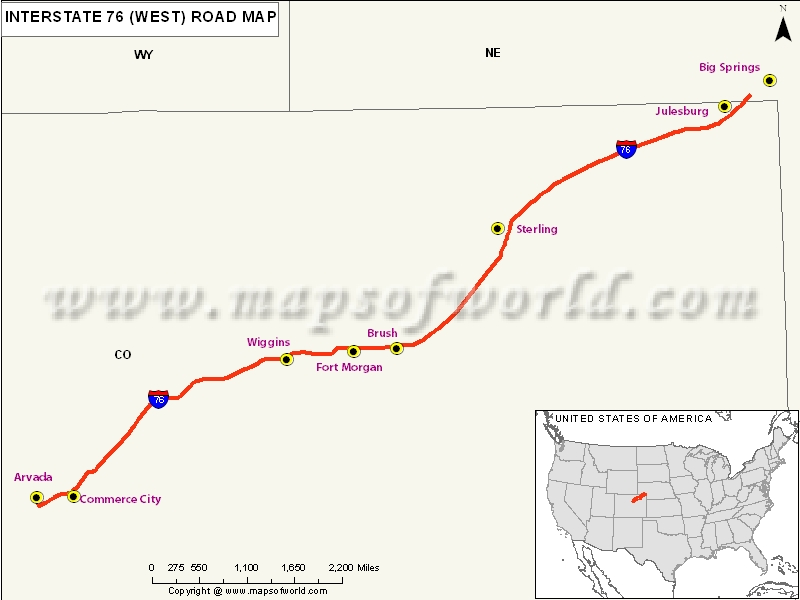 US Interstate 76 West Map