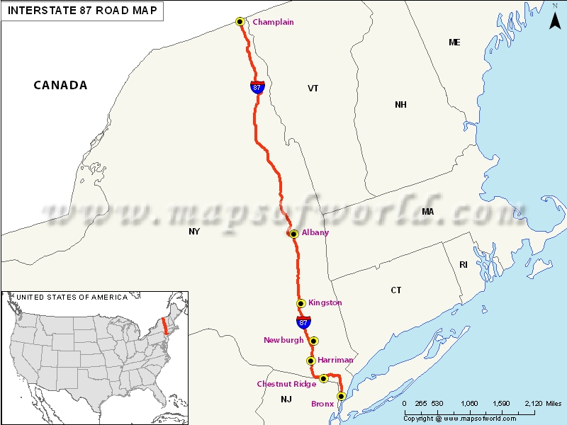 US Interstate 87 (I-87) Map - New York to Champlain, New York (Canada)