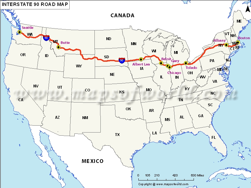 Interstate I Map Seattle Washington To Boston - Us interstate map with cities