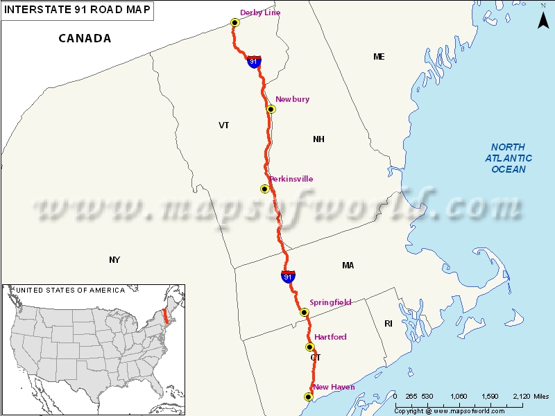 US Interstate 91 Map