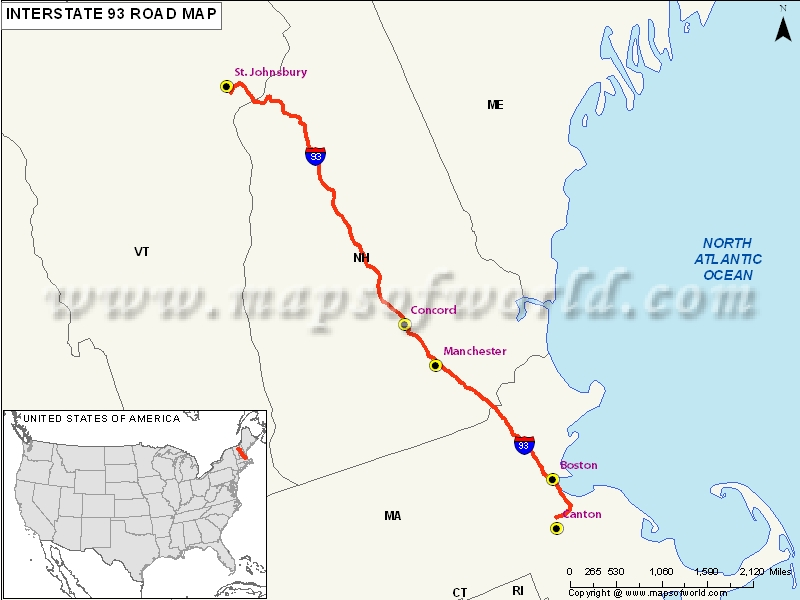 US Interstate 93 Map