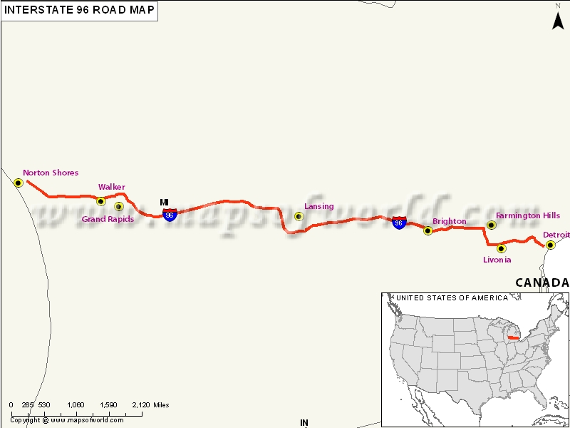 US Interstate 96 Map