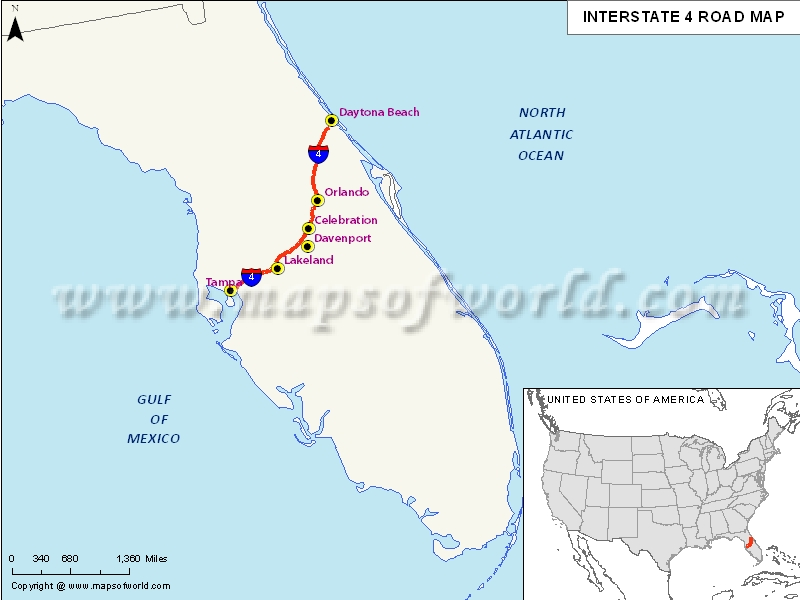 Interstate I Map USA Tampa Florida To Daytona Beach Florida - Where is tampa on map of us