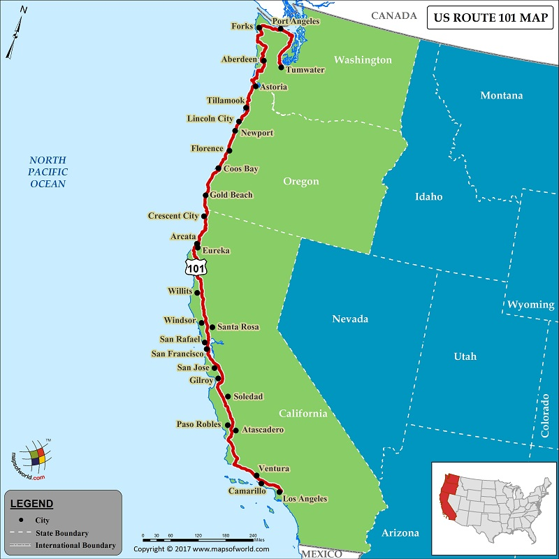 US Route 101 Map for Road Trip, Highway 101