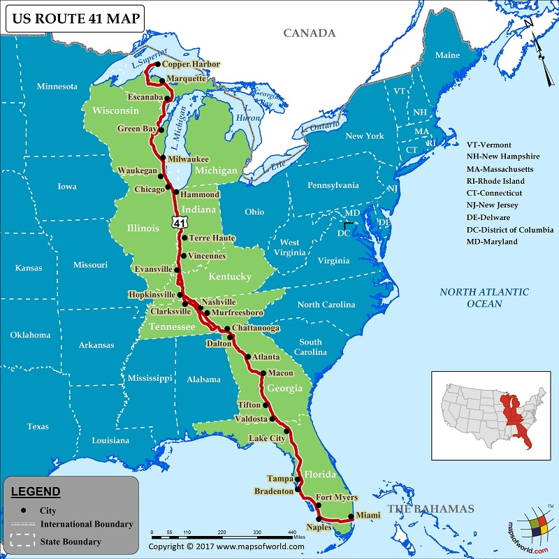 US Route 41 Map for Road Trip, Highway 41