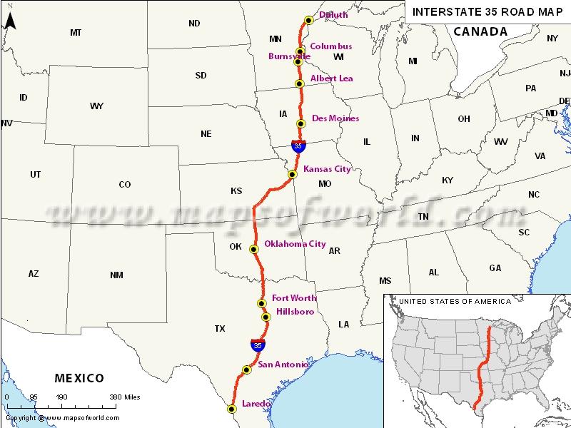 USA Interstate 35 Map