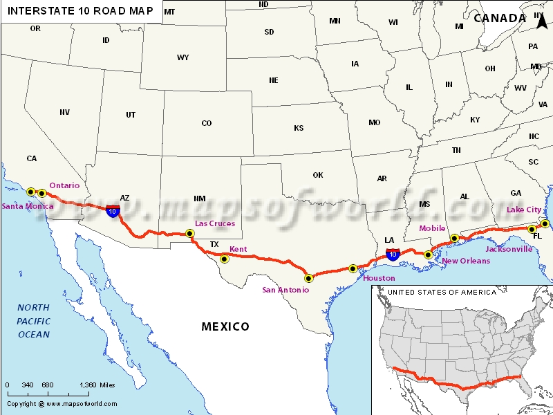 Map Of Us Interstate 10 Interstate 10 (I 10) Map   Santa Monica, California to