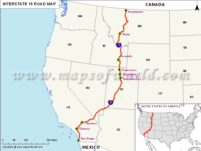 Usa Interstate 15 Map