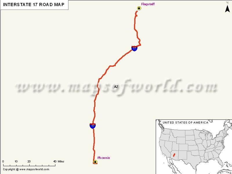 USA Interstate 17 Map