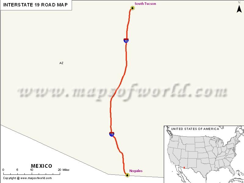 USA Interstate 19 Map