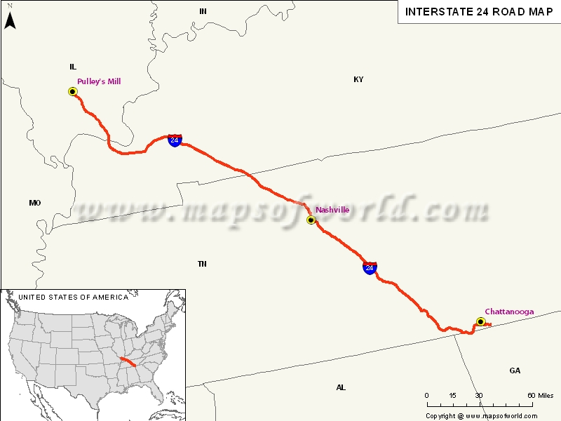 Usa Interstate 24 Map